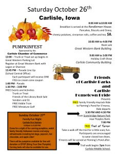 Weekend Events and Activities 10/26/19 and 10/27/19 @ Carlisle, IA